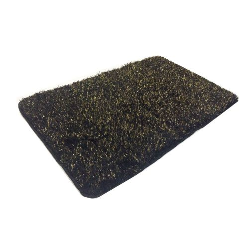 STYLISH LUXURY SPARKLE GLITTER FLUFFY SUPER SOFT BATH MAT NON SLIP BLACK